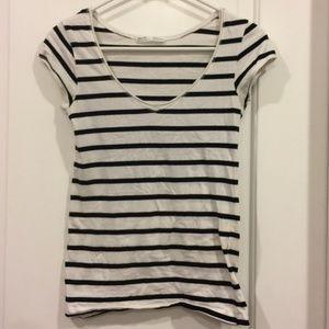 ZARA TRF Black and White Stripe Shirt Size M